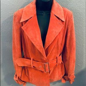 Alfani Orange Suede Leather Jacket w/ Waist Belt